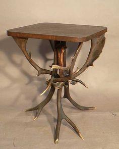 horn table made of deer and fallow deer antlers