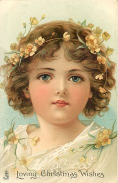 LOVING CHRISTMAS WISHES head and shoulders of girl adorned with buttercups