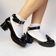 Sweet Black with White Lolita Heel Shoes,Lolita Footwear, Sock Shoes, Cute Shoes, Me Too Shoes, Shoes Heels, Gold Fashion, Lolita Fashion, Emo Fashion, Lolita Mode, Kawaii Shoes
