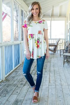 bb83521144 Going To Be Alright Short Sleeve Baby Doll Floral Top In Ivory Filly Flair