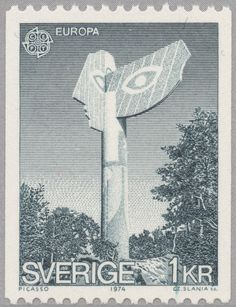 """Sweden """"Europa CEPT"""" - """"Jaqueline"""" from the series """"Les dames de Mougins"""" by Pablo Picasso, erected in Kristinehamn Czeslaw Slania sc. Stamp Auctions, Saved Passwords, Postage Stamp Art, First Day Covers, Picture Postcards, Event Calendar, Pablo Picasso, Stamp Collecting, Sculptures"""