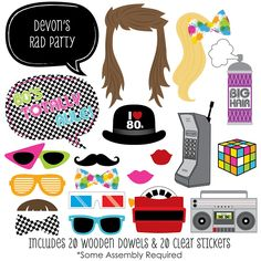 80's Retro - 20 Piece Photo Booth Props Kit | BigDotOfHappiness.com