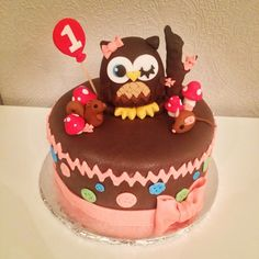 Owl And Button 1st Birthday Cake. Hand Made Fondant Characters And Bow.  By Todays Sweet Cakery