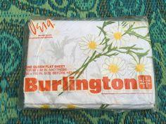 60's Vera Neumann 'Daisy Spray' QUEEN Size Flat Sheet - White with Mod Daisy Flower Print Burlington NIP by ElkHugsVintage on Etsy