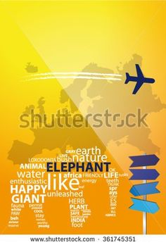 Modern Magazine Cover With Typography Elephant And Simple Blue Plane And Directory