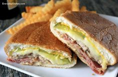 Cuban Sandwich Recipe Lunch and Snacks with sandwich rolls, yellow mustard, mayonaise, ham, loin pork roast, swiss cheese, dill pickle slices, unsalted butter