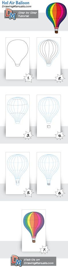 Lots of other tutorials too!  How to Draw How Air Balloon step-by-step, a drawing tutorial for beginners  http://drawingmanuals.com/manual/hot-air-balloon/