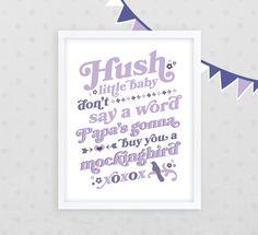 Hush Little Baby Purple Nursery Decor /// 11 x 14 Giclee Print  ///  Nursery Classics Collection. $28.00, via Etsy.