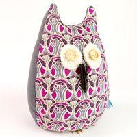 OWL LIBERTY PRINT LAVENDER DOORSTOP Mauverina Cotton   Owl Doorstops   Lavender Print Doorstops