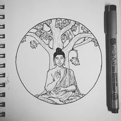 "56 Likes, 3 Comments - Malcolm Fowlkes (@malcolmalexanderart) on Instagram: ""Buddha.  #buddha #tattoo #lotus #tree #art #pen #ink #drawing #draw #illustration #sketch #micron…"""