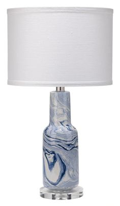 This Blue Marble Swirled Table Lamp will absolutely capture your imagination with its hand-swirled blue and white pattern. Contemporary Table Lamps, Antique Bottles, Lamp Sets, Lamp Design, Lighting Design, Drum Shade, Recycled Glass, White Patterns, White Ceramics
