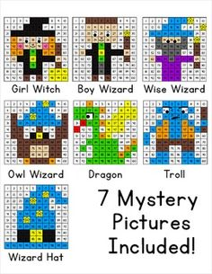 Math Morning Work - Wizard School Mystery Pictures - Hundreds Chart Wizard School, Hundreds Chart, Color By Numbers, Early Finishers, Decimal, School Themes, Pink Cat, Place Values, Morning Work