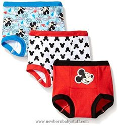 Baby Boy Clothes Disney Little Boys' Toddler Mickey 3 Pack Training Pant, Assorted, 3T