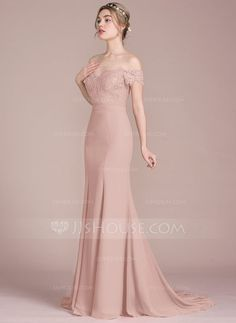 5ef660c8fe4 Trumpet Mermaid Off-the-Shoulder Court Train Chiffon Lace Bridesmaid Dress  With Beading