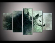 Hd Print 5 Pieces Canvas Wall Art Print Wolf Painting Canvas Modern Home Decor.