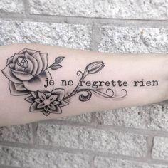 je ne regrette rien <3 tattoo <3 black and white <3 flowers <3 freehand Op mij.