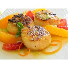 """Seared Scallops with Jalapeno Vinaigrette 