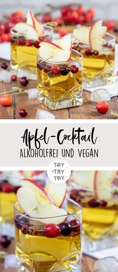 Non-Alcoholic Apple Cocktail // Vegan // Vegan Beverage // Fall Drink Recipe // with apple with apple, ginger <tr Pinner TRY TRY TRY diy & food Quelle trytrytryde Bildgröße 170 x 390 Boardname Drinks { trytrytry } Ansichten 21 - Cocktails Vegan, Festive Cocktails, Christmas Cocktails, Cranberry Margarita, White Cranberry Juice, Margarita Cocktail, Ginger Ale Cocktail, Apple Recipes, Wine Recipes