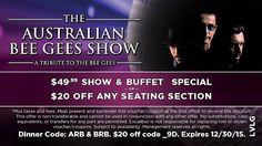 Coupon for $20 discount on admission to the Australian Bee Gees Show