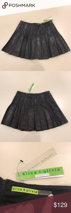 Alice + Olivia Pleated Leather Skirt Black Alice + Olivia Pleated Leather Skirt.  Black.  Size 4.  BRAND NEW WITH TAGS.  Pleats throughout skirt.  Back zipper. Lamb Leather. Alice + Olivia Skirts Mini