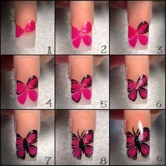 Ladies' nails have always been an important dimension of beauty and fashion. You can also have so many choice for your nail designs. Star nail art, Hello Kitty nail art, zebra nail art, feather nail designs are a few examples among the various themes. Nail Art Hacks, Gel Nail Art, Nail Art Diy, Diy Nails, Butterfly Nail Designs, Butterfly Nail Art, Nail Art Modele, Art Simple, Wedding Nails Design