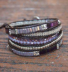 Pulsera Wrap 5 veces cristal púrpura abalorios mezcla por G2Fdesign