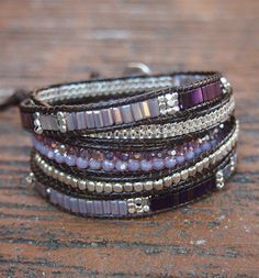 5 times Wrap Bracelet Purple Crystal beaded mix Boho by G2Fdesign