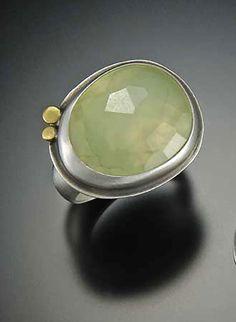 Large Rose Cut Prehnite Ring: Ananda Khalsa: Silver & Stone Ring - Artful Home