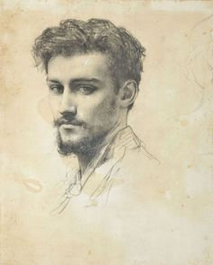 Attributed to Raphaël Collin (French, 1850-1916), Portrait de Paul Victor Grandhomme. Black chalk, 27.5 x 21.5 cm. Paul Victor Grandhomme (1851-1944), was a French enamel painter and medallist