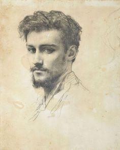 Attributed to Raphaël Collin (French, 1850-1916), Portrait de Paul Victor Grandhomme. Black chalk, 27.5 x 21.5 cm.  Paul Victor Grandhomme (1851-1944), was a French enamel painter and medallist