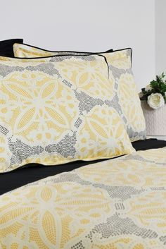 Duvet Cover Set In Moroccan Tile Pattern Full Queen King Cal Black Yellow Silver Cotton Bedding Geometric Pillowcases