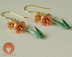 origami lily earrings