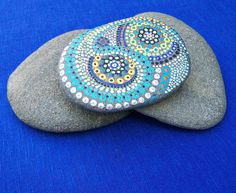 Hand painted mandala stone, dot painting design, large painted beach stone, mandala style, decorated rock