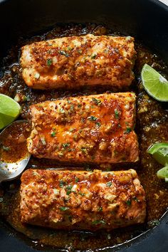 honey garlic salmon recipe This Spicy Honey Garlic Salmon is perfect for a quick weekday evening: smother your pan seared salmon fillets with a garlic honey mustard glaze and dinner is ready in under 20 minutes! Say hello to… Baked Salmon Recipes, Spicy Recipes, Fish Recipes, Seafood Recipes, Healthy Dinner Recipes, Cooking Recipes, Healthy Options, Healthy Desserts, Healthy Food