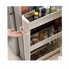 Slim diapositive de cuisine Rack support étagère armoire de rangement à roulettes Organiseur sur roues 2/3/4couches selforganiser 3-Layer off white