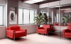Living Room. Red Comfortable Armchairs Beside The Window Mixed With White Ceramic Floor And Plants Idea: Various Living Room Decorating Idea...
