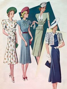 Record Fashions Pattern Magazine – July is ever that skinny? Vintage Dress Patterns, Vintage Dresses, Vintage Outfits, Sewing Patterns, Vintage Hats, 1938 Fashion, Vintage Fashion, Fashion Goth, Edwardian Fashion