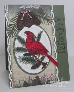Card by Angella Crockett  (110115)  [Our Daily Bread  (dies) Custom Cardinal, Custom Lovely Leaves, Custom Ovals, Custom Pinecones, Custom Stitched Ovals; (stamps)  Sing for Joy]