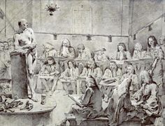 Giovanni Battista Tiepolo - Piazzetta's Academy: Artists Drawing a Nude - art prints and posters