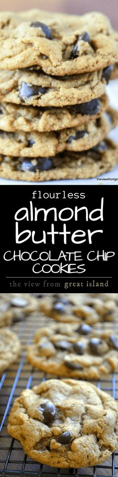 Flourless Almond Butter Chocolate Chip Cookies ~ these gluten free cookies are made without flour or butter, and they beat your favorite chocolate chip cookie by a mile! Can be made keto friendly by using sugar substitute for regular sugar Low Carb Sweets, Gluten Free Sweets, Gluten Free Baking, Low Carb Desserts, Health Desserts, Healthy Sweets, Dessert Healthy, Keto Cookies, Gluten Free Cookies
