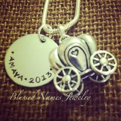 Blessed Names Jewelry Cinderella coach charm little girl necklace Hand stamped