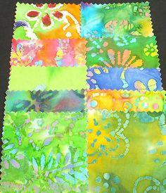 """4"""" 100 Pretty In Batik Squares Quilt Quilting Fabric Squares Blocks Patchwork"""