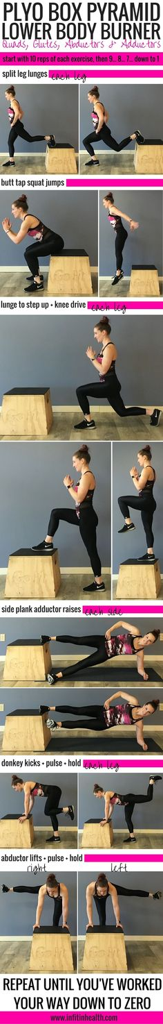 Best Workouts Tips : Picture Description Plyo Box Pyramid Lower Body Burner Plyo Workouts, Plyometric Workout, Plyometrics, At Home Workouts, Body Workouts, Fitness Workouts, Step Workout, Box Jump Workout, Pyramid Workout