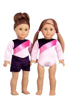 TWO-TONE PINK GYMNASTIC LEOTARD /& MATCHING WARMUP SKIRT fits American Girl