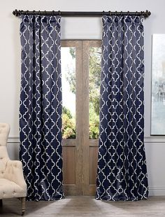 Seville Navy Blackout Curtain - SKU: BOCH-KC40F at https://halfpricedrapes.com