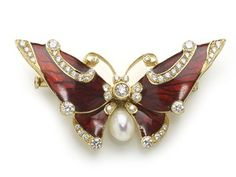 Red Enamel Butterfly Brooch