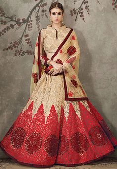 Net Lehenga with Poly Shantoon Lining in Beige and Red Beautifully Embroidered with Resham, Stone, Dori and Patch Border Work Available with a Semi-Stitched Beige Net Choli and a Beige Net Dupatta The Semi-stitched Lehenga Waist and Hips are Customizable from 34 to 36 and 40 to 44 inches respectively and the Length of the Lehenga is 42 inches Do note: Accessories shown in the image are for presentation purposes only.(Slight variation in actual color vs. image is possible.)