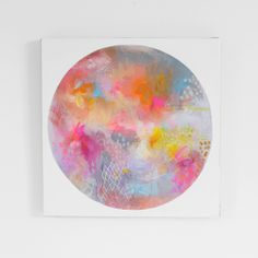 Abstract art, bright, bold and minimal.....experimenting with color and shape - 'LUNA SEA : FULL OF COLOUR AND GOLD' by Erin Flannery xx