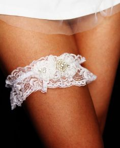 White Lace Wedding Garter  Bridal Garter Crystal by NAFEstudio