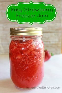 Premeditated Leftovers: A quick and easy Strawberry Freezer Jam Recipe. This no-cook strawberry freezer jam recipe just uses 4 ingredients: strawberries, sugar, pectin, and water.
